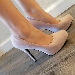 Nude pink suede high heels